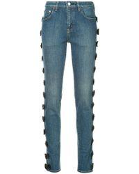 Tu Es Mon Tresor - Velvet Bow Skinny Jeans - Lyst