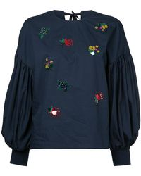 MUVEIL - Embellished Puff-sleeve Blouse - Lyst