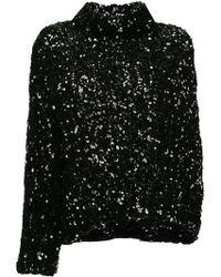 Ports 1961 Sequinned Single Sleeve Top - Black