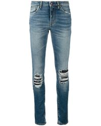 Saint Laurent - Ripped Detail Jeans - Lyst