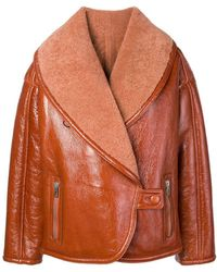 DROMe - Oversized Collar Shearling Jacket - Lyst