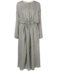 Dusan - Houndstooth Flared Midi Dress - Lyst