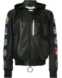 dd9e79fce593 Off-White c o Virgil Abloh - Temperature Patch Embellisheda Hooded Jacket -  Lyst