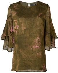 Josie Natori - Tiered Sleeve Blouse - Lyst