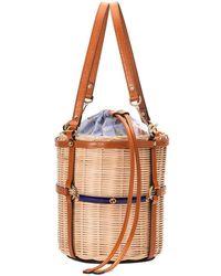 bc905ecca13 Lyst - Gucci Small Linea Cestino Glazed Wicker Shoulder Bag in Natural