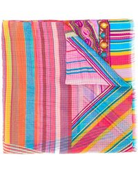 Etro - Paisley And Stripes Scarf - Lyst