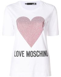 Love Moschino - Logo Heart T-shirt - Lyst