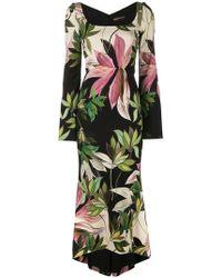 Christian Siriano - Hawaiian Print Fitted Dress - Lyst