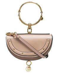 Chloé - Beige Nile Mini Minaudiere Leather Bracelet Bag - Lyst