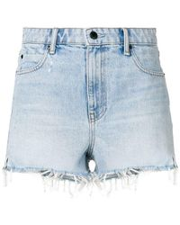 T By Alexander Wang - Frayed Denim Shorts - Lyst