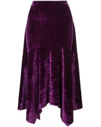Josie Natori - Stretch Velvet Skirt - Lyst