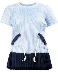 011b6b1b67c53 Lyst - Sacai Striped Cold Shoulder Top in Blue
