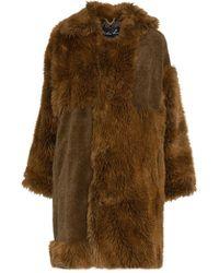 Martine Rose - Logo Tab Faux Fur Cotton Blend Coat - Lyst