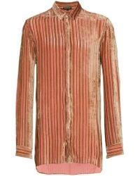 Ann Demeulemeester - Velvet Stripe Silk Cashmere-blend Shirt - Lyst