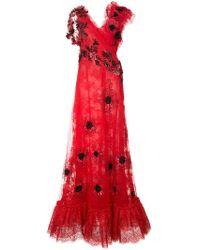 Rodarte - Floral lace maxi dress - Lyst