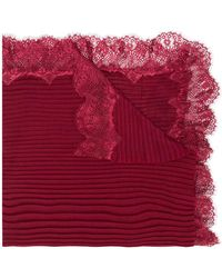 Twin Set - Lace Trim Ribbed Scarf - Lyst
