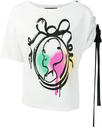 Boutique Moschino - Graffiti Print Lace Detail T-shirt - Lyst