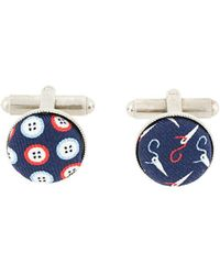 Fefe - Button And Needle Print Cufflinks - Lyst