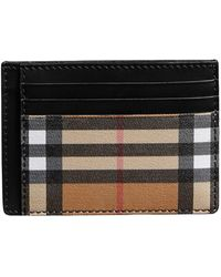 Burberry - Vintage Check Leather Card Case - Lyst