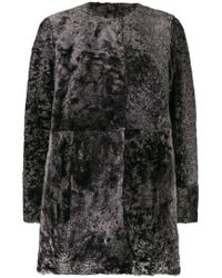 DROMe - Collarless Straight Fit Coat - Lyst