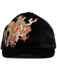 82e40dca7b6 Gucci - Black Dragon Embroidered Velvet Cap - Lyst