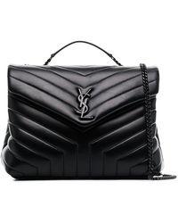 e200e134fcee Saint Laurent - Black Loulou Leather Quilted Shoulder Bag - Lyst