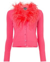 Boutique Moschino - Feather Trim Cardigan - Lyst