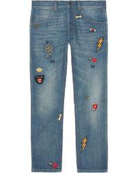 Gucci - Pantalón Estrecho de Denim con Símbolos - Lyst
