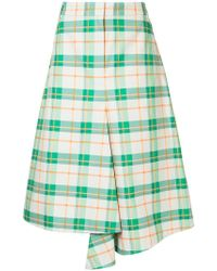 Tibi - Hani Draped Plaid Skirt - Lyst