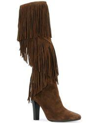 Saint Laurent - 'lily' Fringe Tall Boot - Lyst