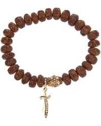 Loree Rodkin - Carved Wood Beaded Diamond Bracelet - Lyst