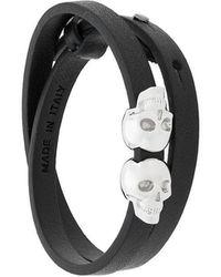 Northskull - Double Skull Wrap Bracelet - Lyst