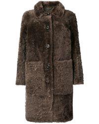 Desa - Buttoned Shearling Coat - Lyst