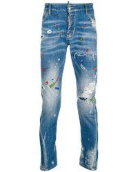 DSquared² - Sexy Twist Paint Splatter Jeans - Lyst