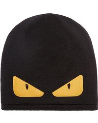 5bb9c07678bb3 Fendi Monster Eyes Wool-Felt Cap in Black for Men - Lyst