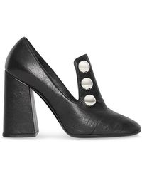 Burberry - Stud Detail Leather Block-heel Court Shoes - Lyst