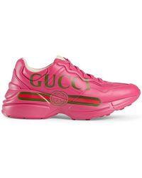 Gucci - Rhyton Leather Trainers - Lyst