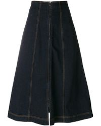 Fendi - Denim Flared Midi Skirt - Lyst
