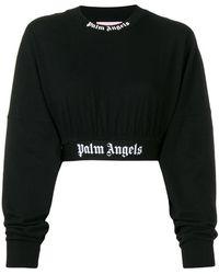 Palm Angels - Felpa crop con logo - Lyst