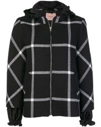 Twin Set - Checked Hooded Jacket - Lyst