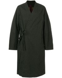 Ziggy Chen - Striped Crossover Belted Coat - Lyst
