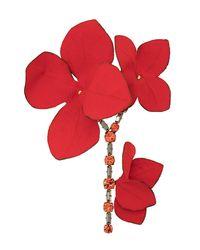 Marni Брошь В Форме Цветка - Красный