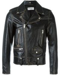Saint Laurent - Distressed Biker Jacket - Lyst