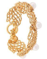Oscar de la Renta - Faux Pearl Net Bracelet - Lyst