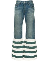 Tu Es Mon Tresor - Striped Faux Fur Flared Jeans - Lyst