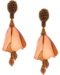 Oscar de la Renta - Impatiens Flower Drop Earrings - Lyst
