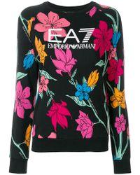 EA7   Floral Logo Sweatshirt   Lyst