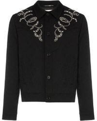 Saint Laurent - Teddy Western Style Embroidered Jacquard Print Denim Jacket - Lyst