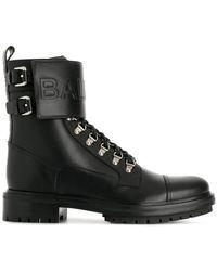 Balmain | Embossed Logo Strap Boots | Lyst