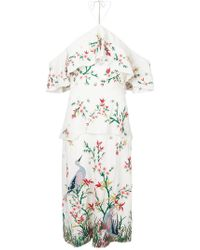 Alice + Olivia - Off-the-shoulder Embroidered Midi Dress - Lyst
